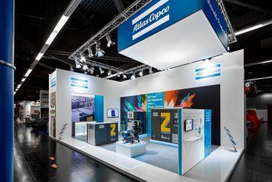 Messestand Atlas Copco Powtech 2017 Nürnberg