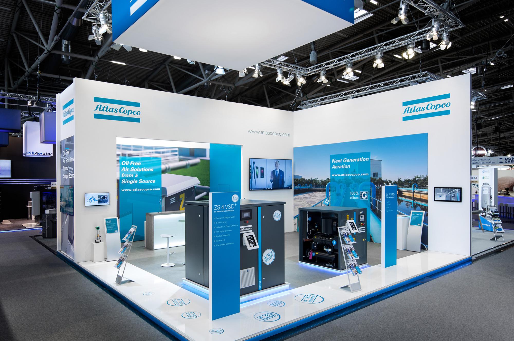 Messestand Atlas Copco IFAT 2018 München