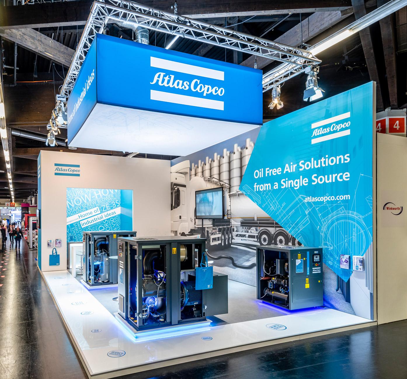 Messestand Atlas Copco Powtech 2019 Nürnberg